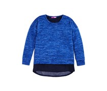 Girls' Chiffon Trimmed Split Back Sweater Top, Blue