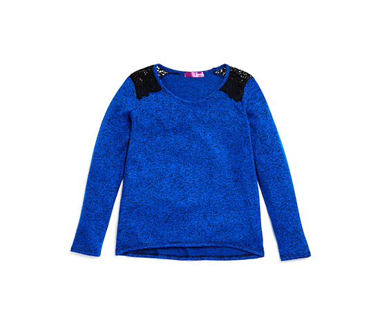 Girls' Marled Lace Trimmed Top, Blue