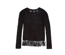 Girls' Fringed Pullover Sweater, Black