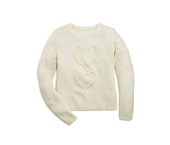Girls' Waffle Textured Heart Sweater, Off White