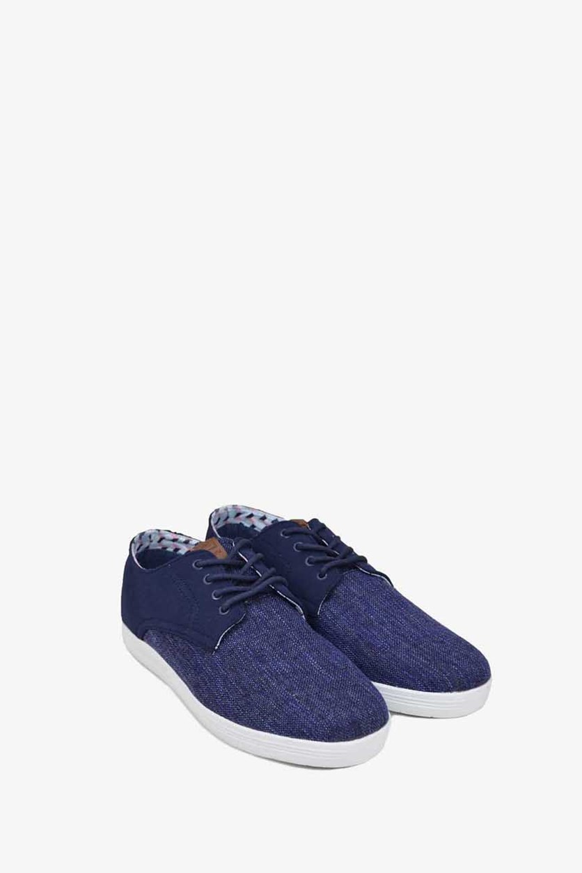 Men's Payton Oxford  Lace Up Casual Shoes, Navy Linen