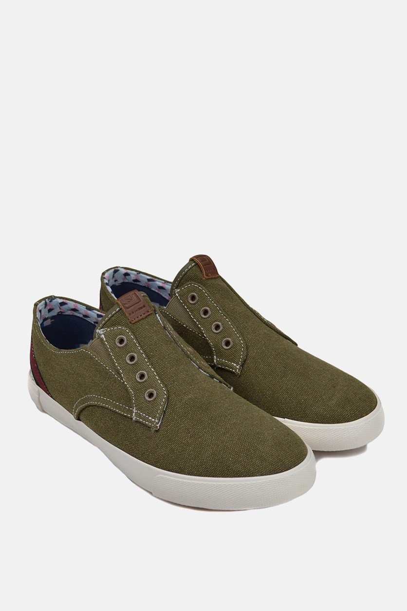 Men's Pete Laceless Shoes, Olive Canvas