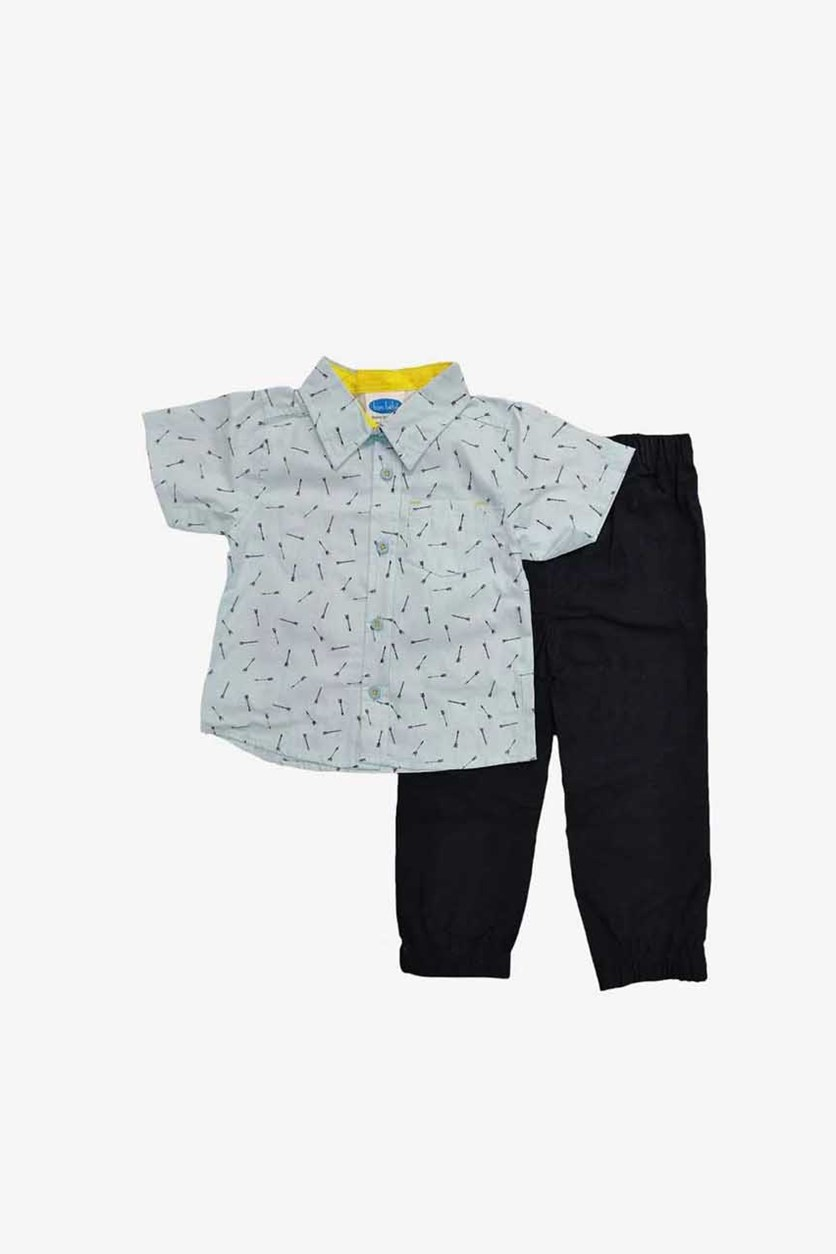Baby Boy's Woven Top & Pant Set, Navy/Blue
