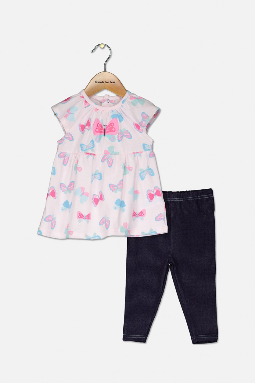 Baby Girls' Butterfly-Print Blouse & Leggings, Pink/Navy