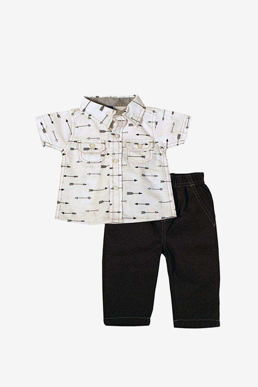 Baby Boy's Woven Top & Pant Set, White/Grey