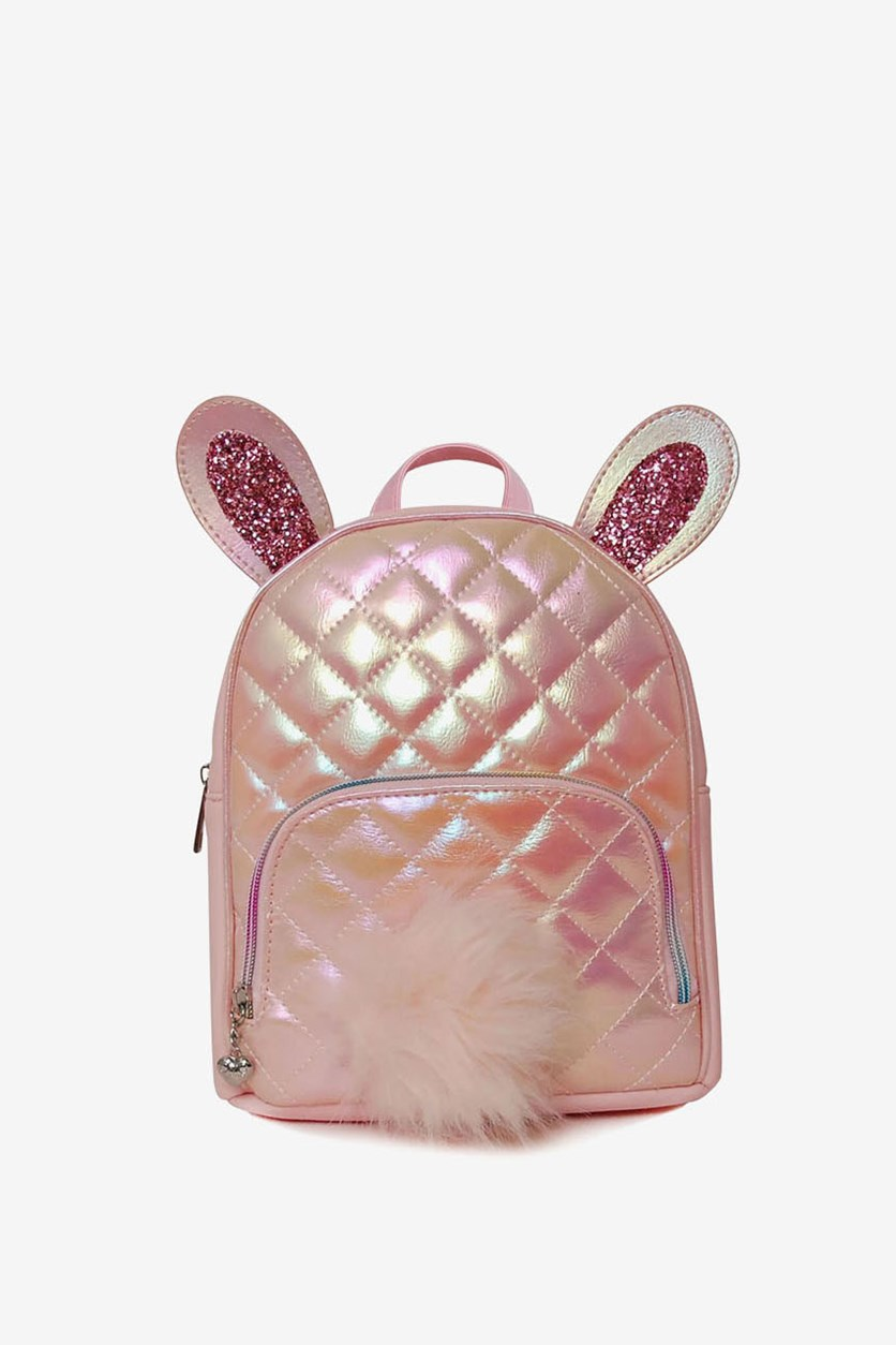 Girl's Metallic Quilted Bunny Mini Backpack, Pink