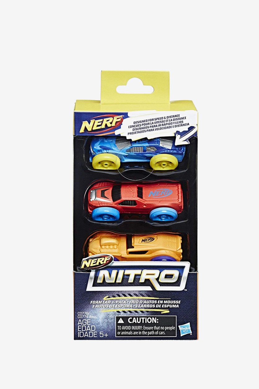 Nerf Nitro Foam Car 3-Pack, Blue/Red/Orange Combo