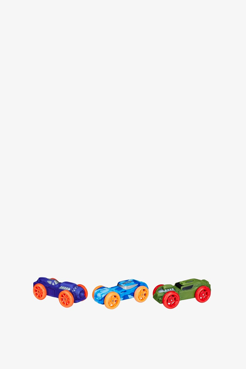 Foam Car 3-Pack, Blue/Purple/Green