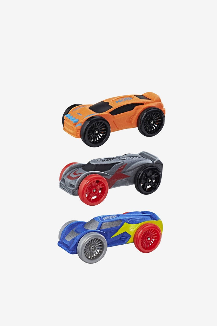 Foam Car 3-Pack, Blue/Orange/Grey
