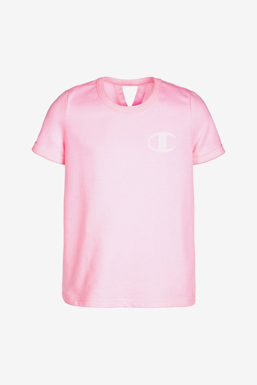 Girls French Terry Logo T-Shirt, Pink Candy