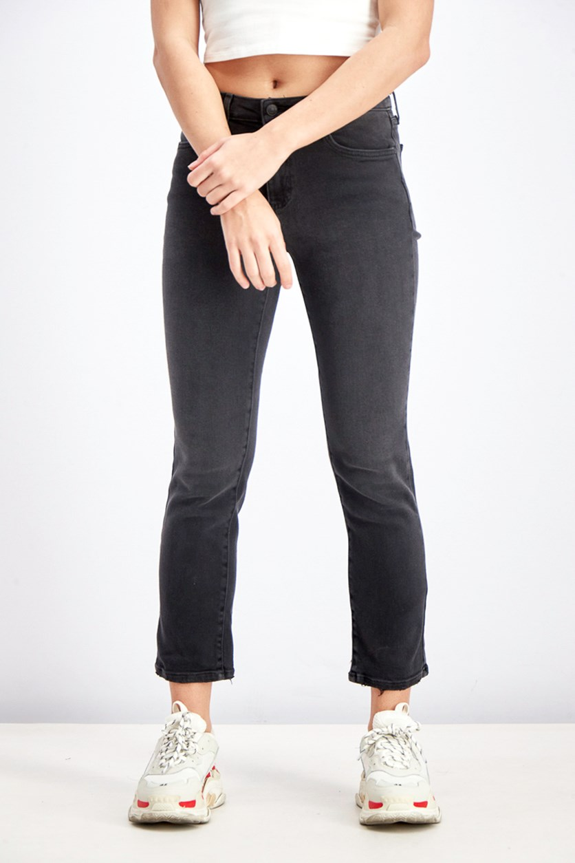 Women's Mid Rise Straight Jeans, Black