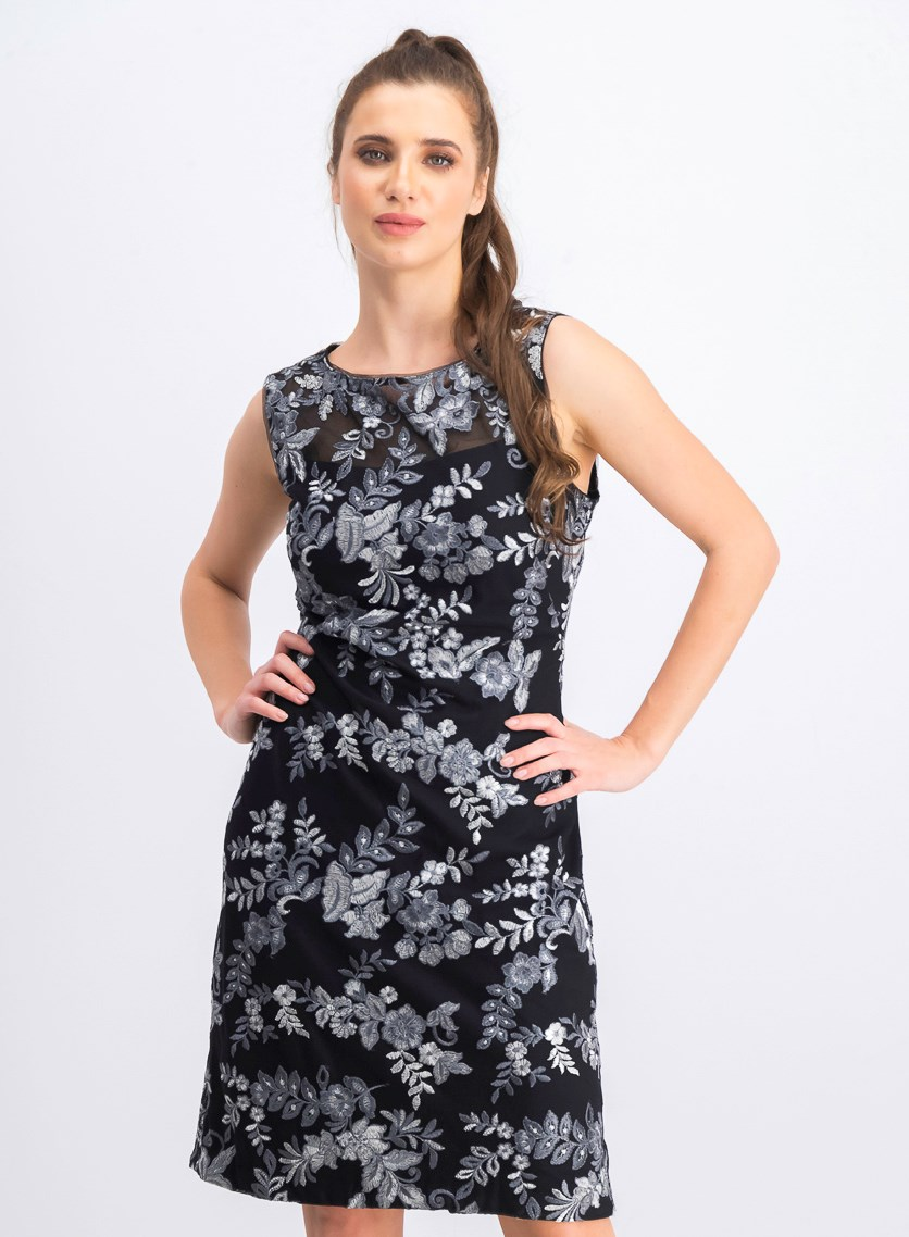 Women's Embroidered Floral Sheath Dress, Black/Silver