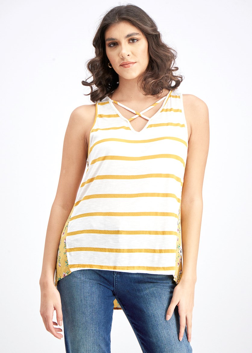 Women's Stripe Printed Top, Mustard