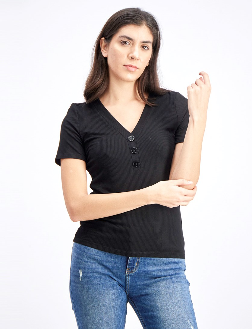 Women's Button Detail Rib Knit Top, Black