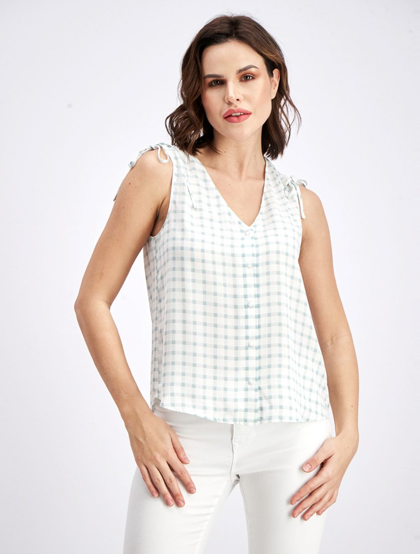 Women's V-Neckline Checkered Top, Green/White