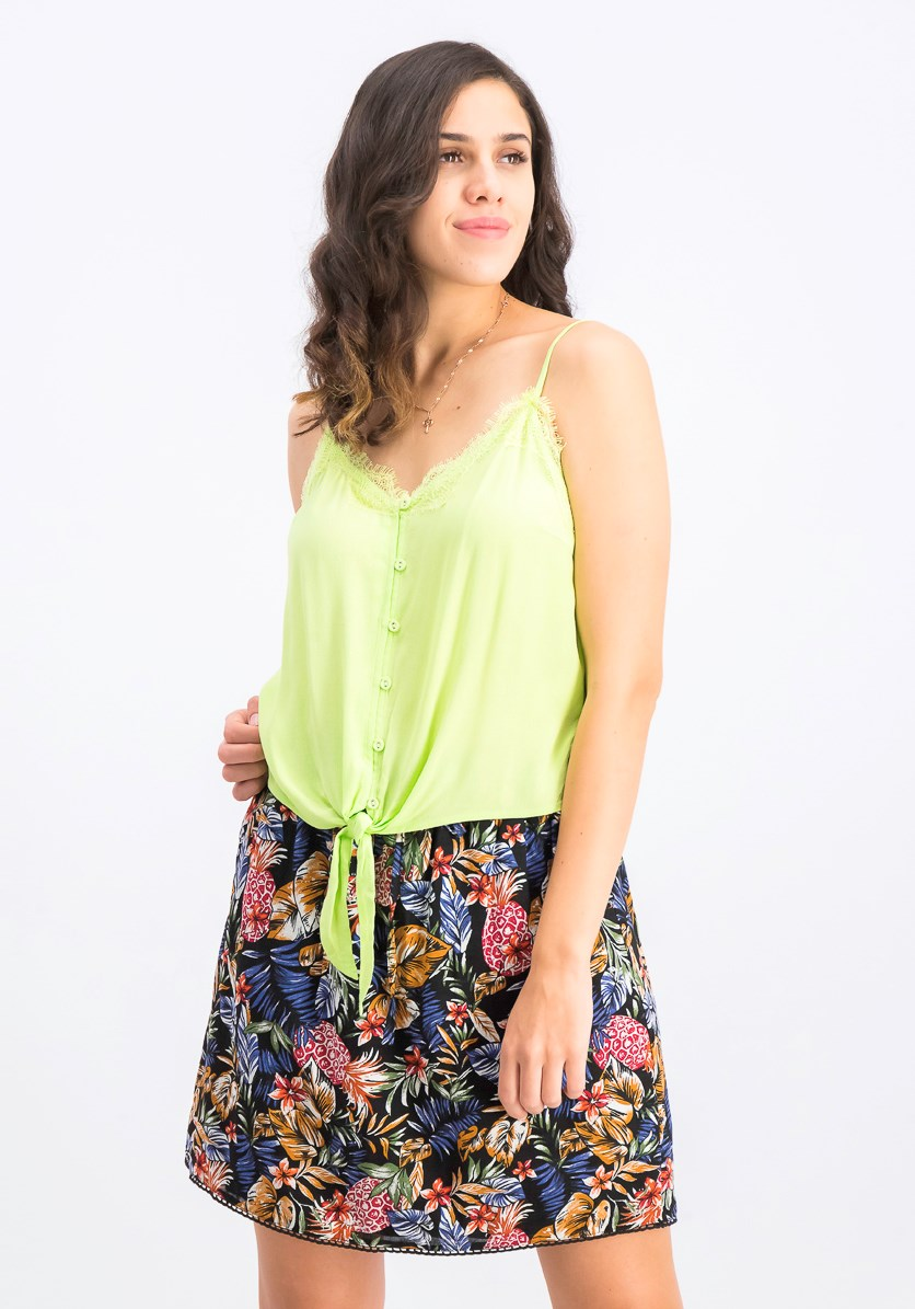 Women's Lace Tank Top, Lime