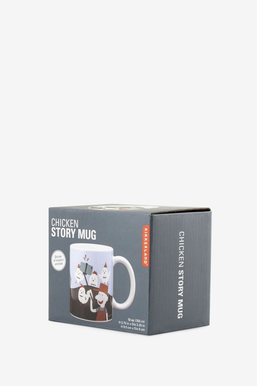 Chicken Story Mug, White/Blue/Green/Black