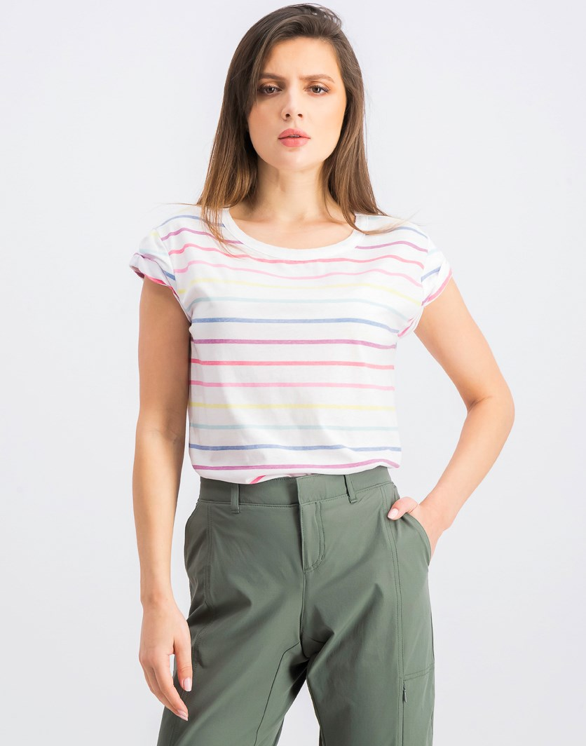 Women's Rolled Sleeve Cotton Blend Knit Top, White Combo