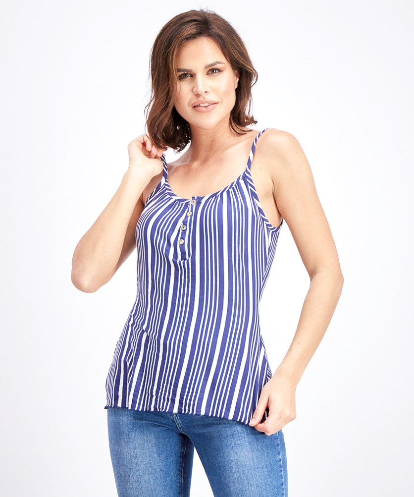 Women's Button Down Tank Top, Blue/White