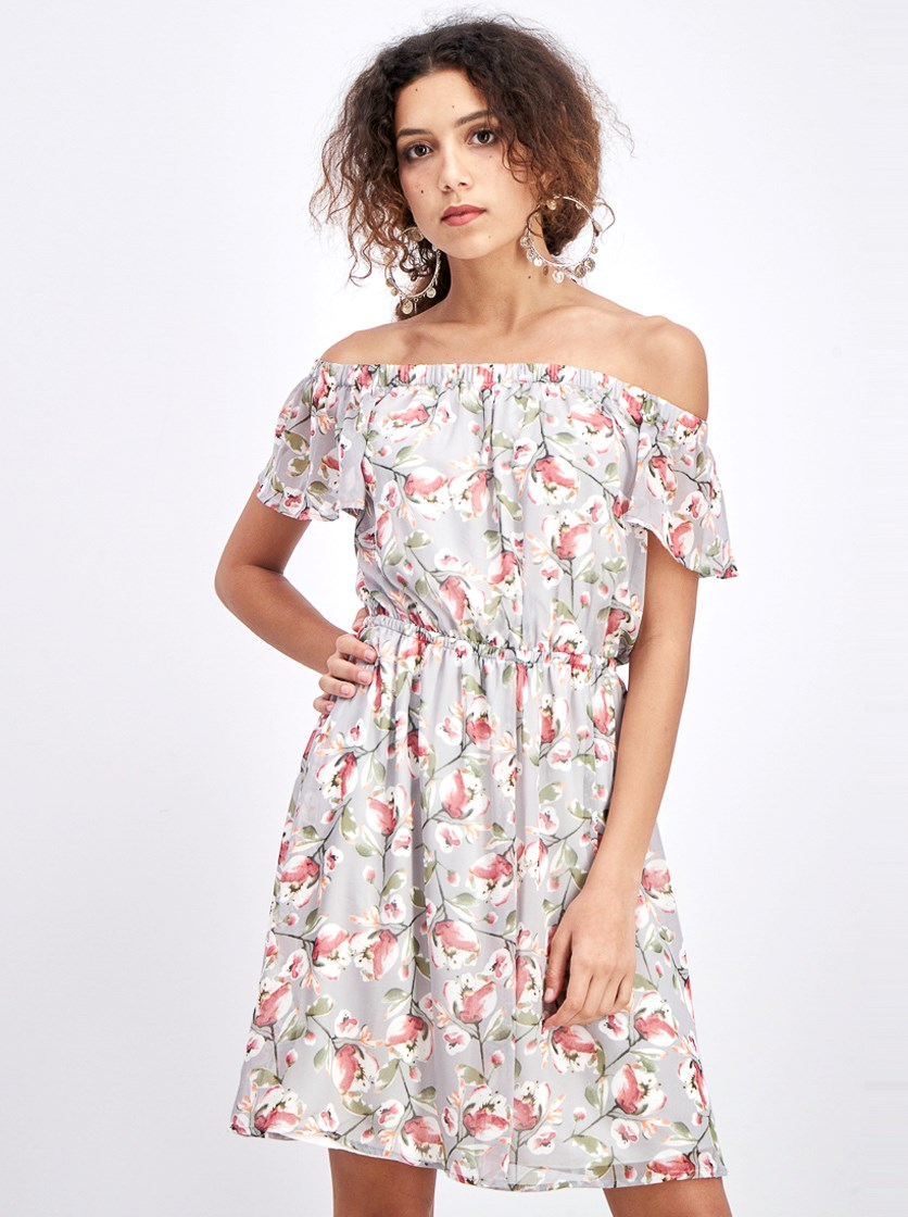 Women's Off-Shoulder Floral Dress, Grey/Pink