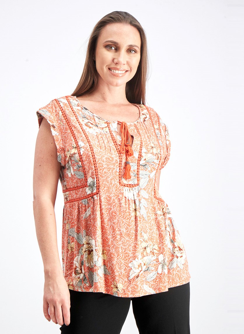 Women's Printed Tops, Orange Combo
