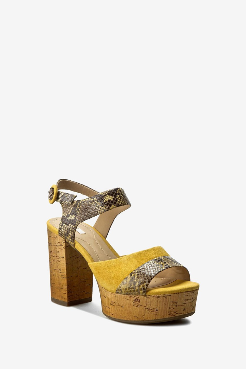 Women's D Galexia Sandals, Ochre Yellow
