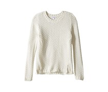 Girls' Textured Lurex Sweater, Off White
