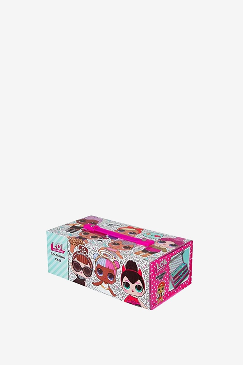 Girl's Allover Print Colouring Case, Pink Combo