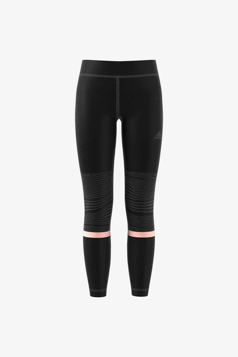 Girl's Climalite Long Training Tights, Black/Pink