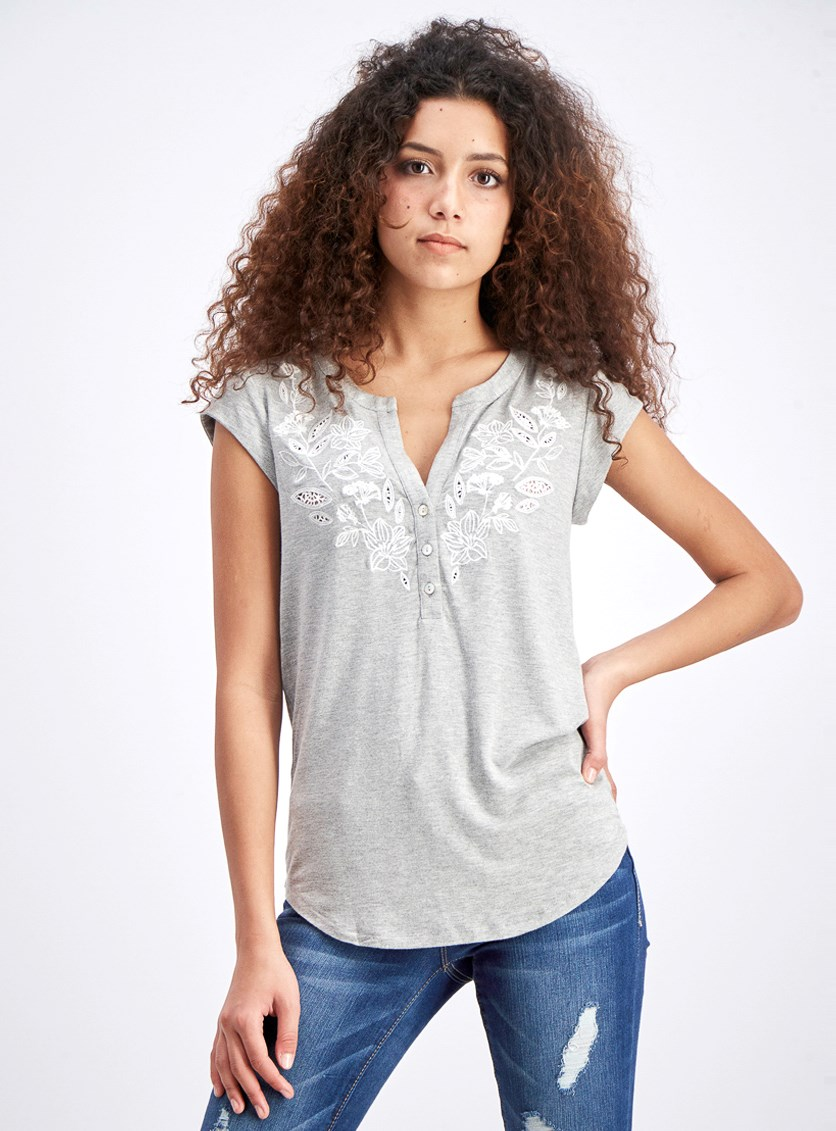 Women's Petite Embroidered Split Neck Knit Top, Grey