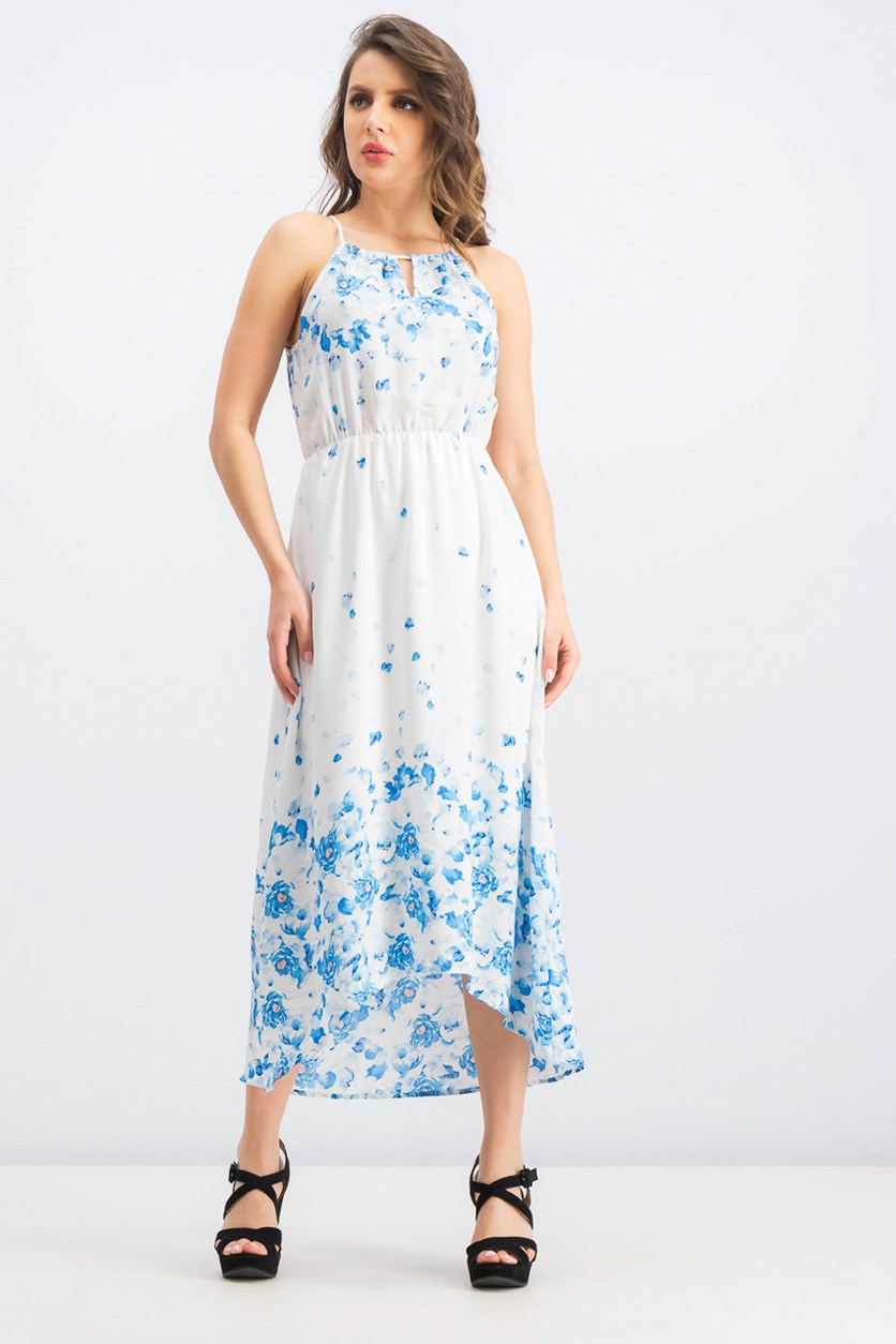 Women's Sleeveless Dress, White/Blue