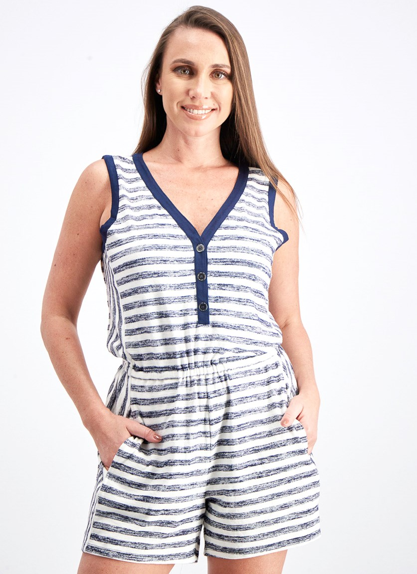 Women's Langley Knit Romper, Navy/White