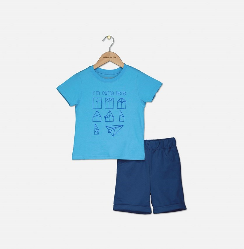 Boy's Graphic Printed Shirt With Short Set, Blue