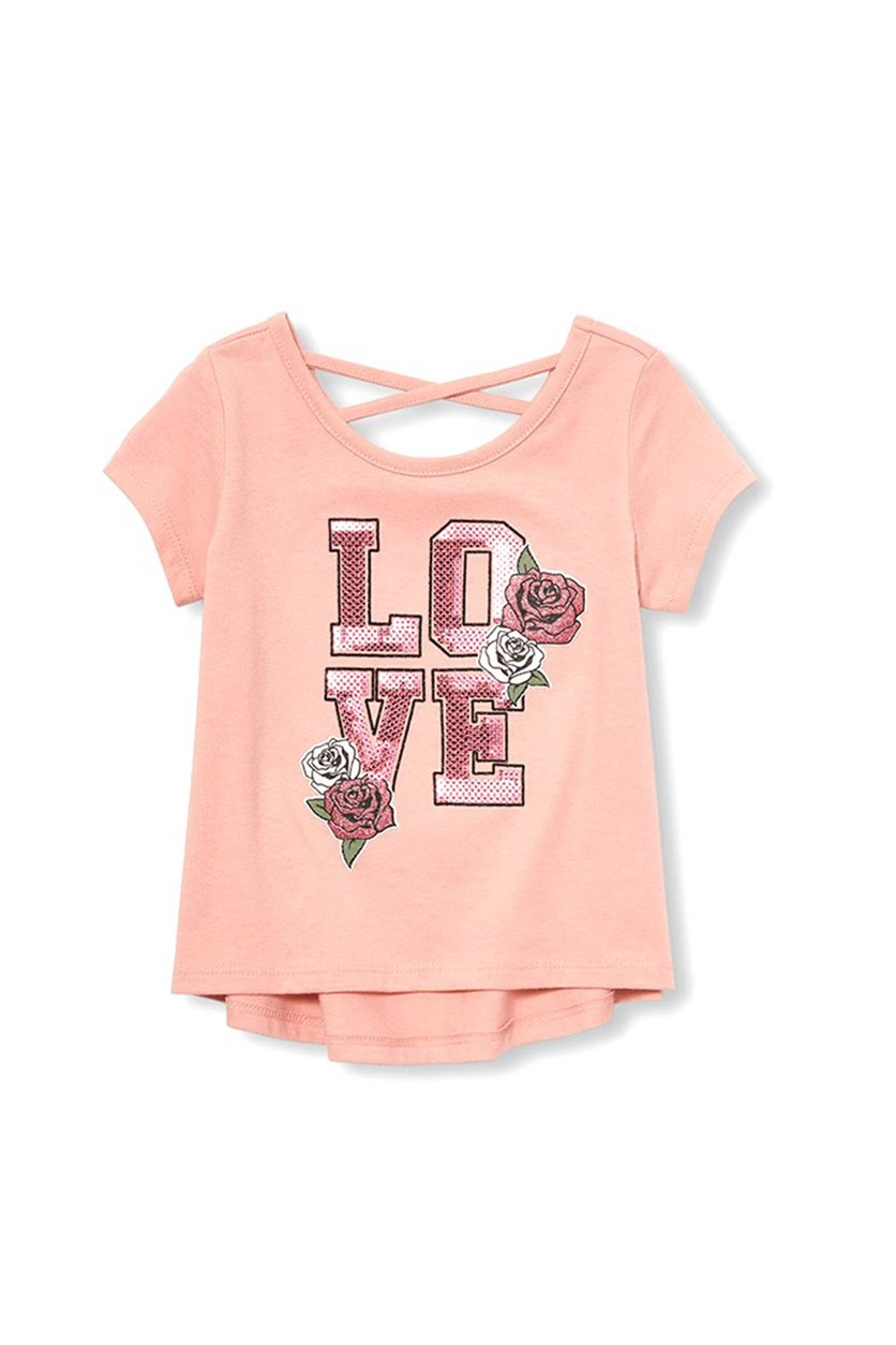 Big Girl's Sequined Graphic Tee, Strawberry