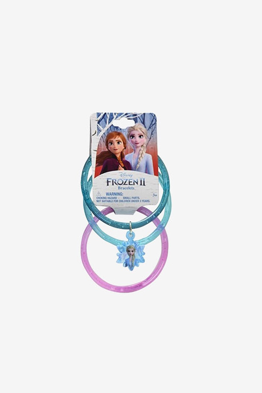 Glitter Frozen Bangles with Queen Elsa Snowflakes Charm, Blue/Teal/Purple