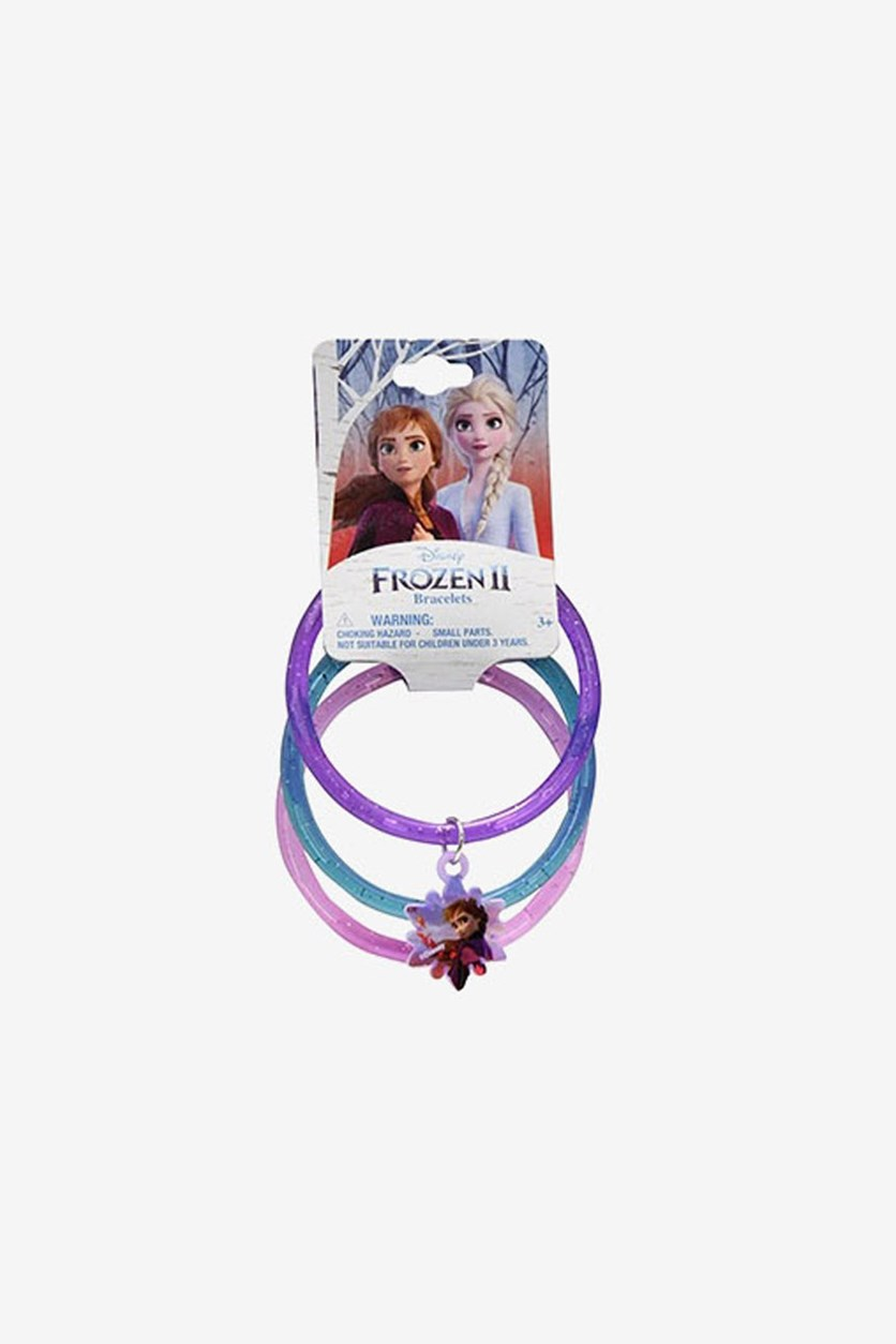 Glitter Frozen Bangles with Princess Anna Snowflakes Charm, Purple/Teal