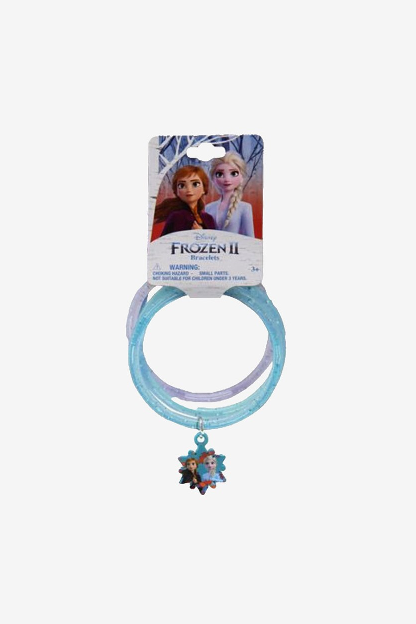 Glitter Frozen Bangles with Anna & Elsa Snowflakes Charm, Blue/Teal/Purple