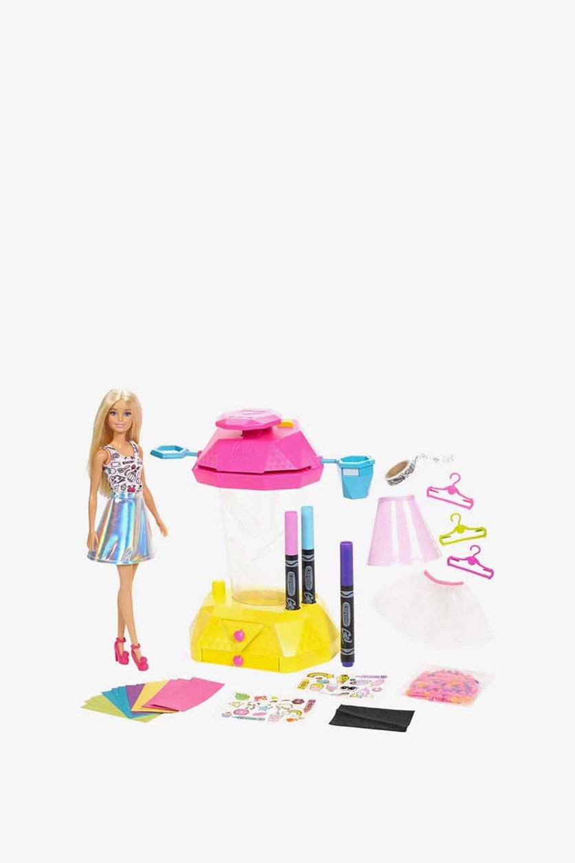 Barbie Crayola Confetti Skirt Studio Playset, Silver/Pink/White Combo