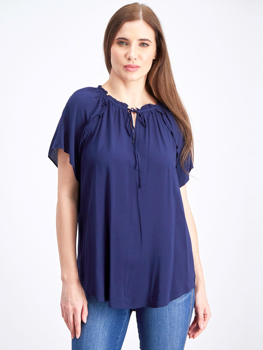 Womens Blouse WithTie, Navy