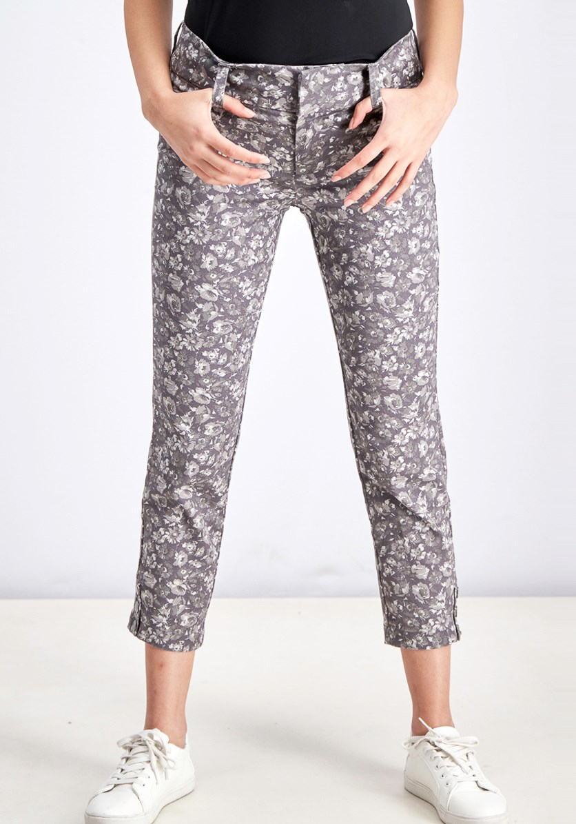 Women's Liam Printed Snap Detail Pant, Grey