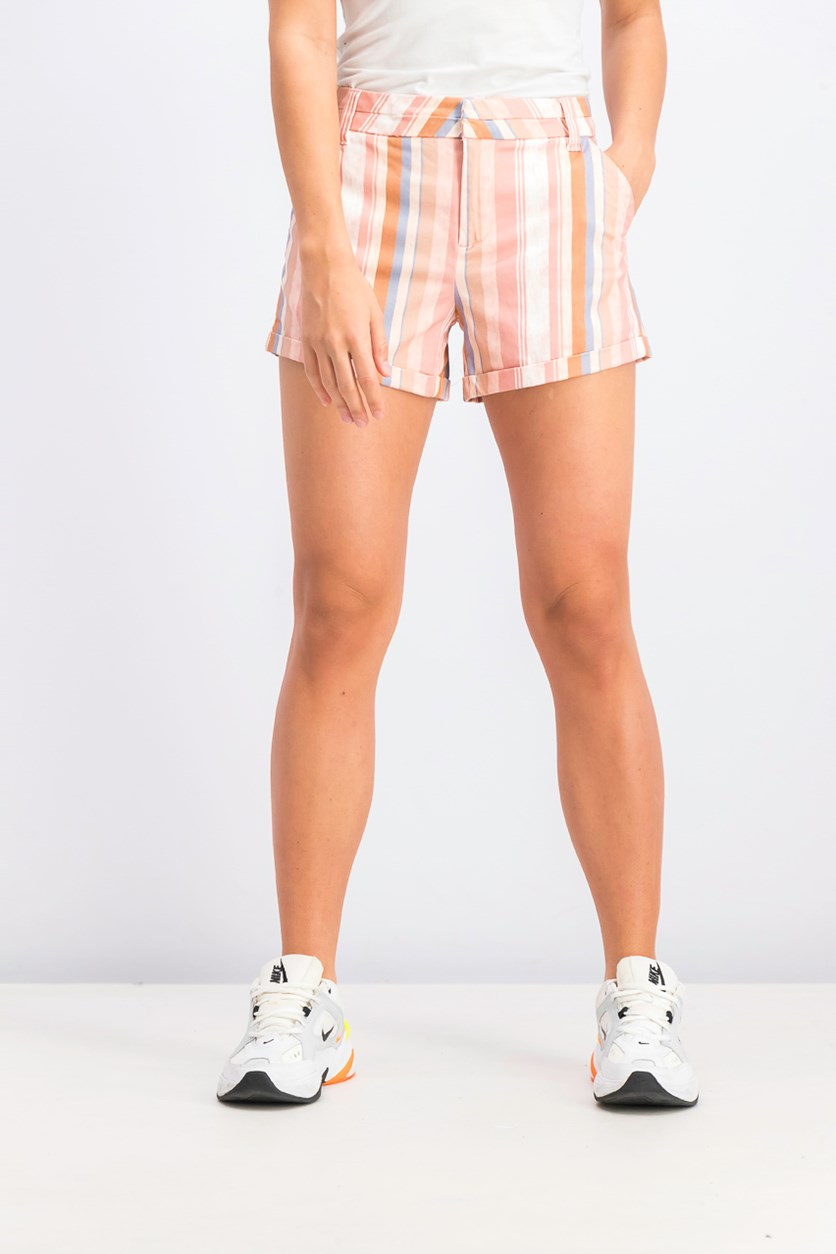 Women's Striped Short, Peach Combo