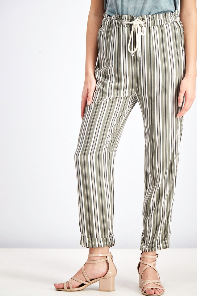 Women's Stripe Pants, Olive Combo