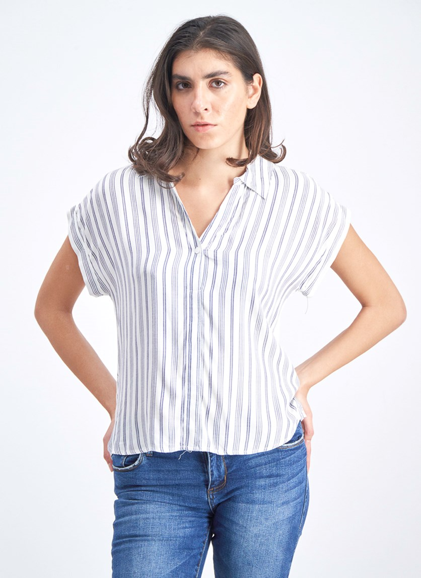 Women's Stripe Top, Blue/White