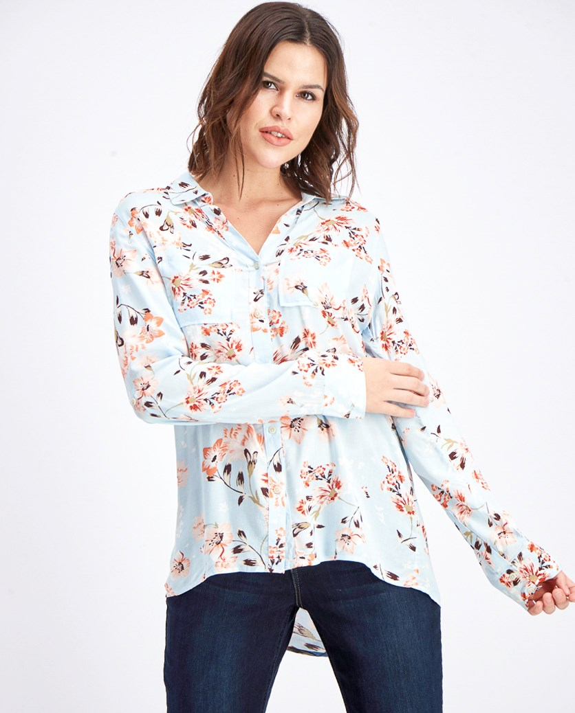 Women's Floral Print Roll Tab Sleeve Top, Sky Blue/Coral