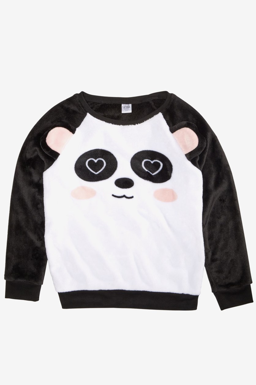 Big Girls Plush Panda Sweatshirt, White/Black/Pink