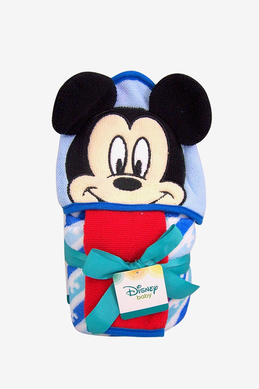 Baby Hooded Bath Towel With Washcloth, Blue/Black/Red