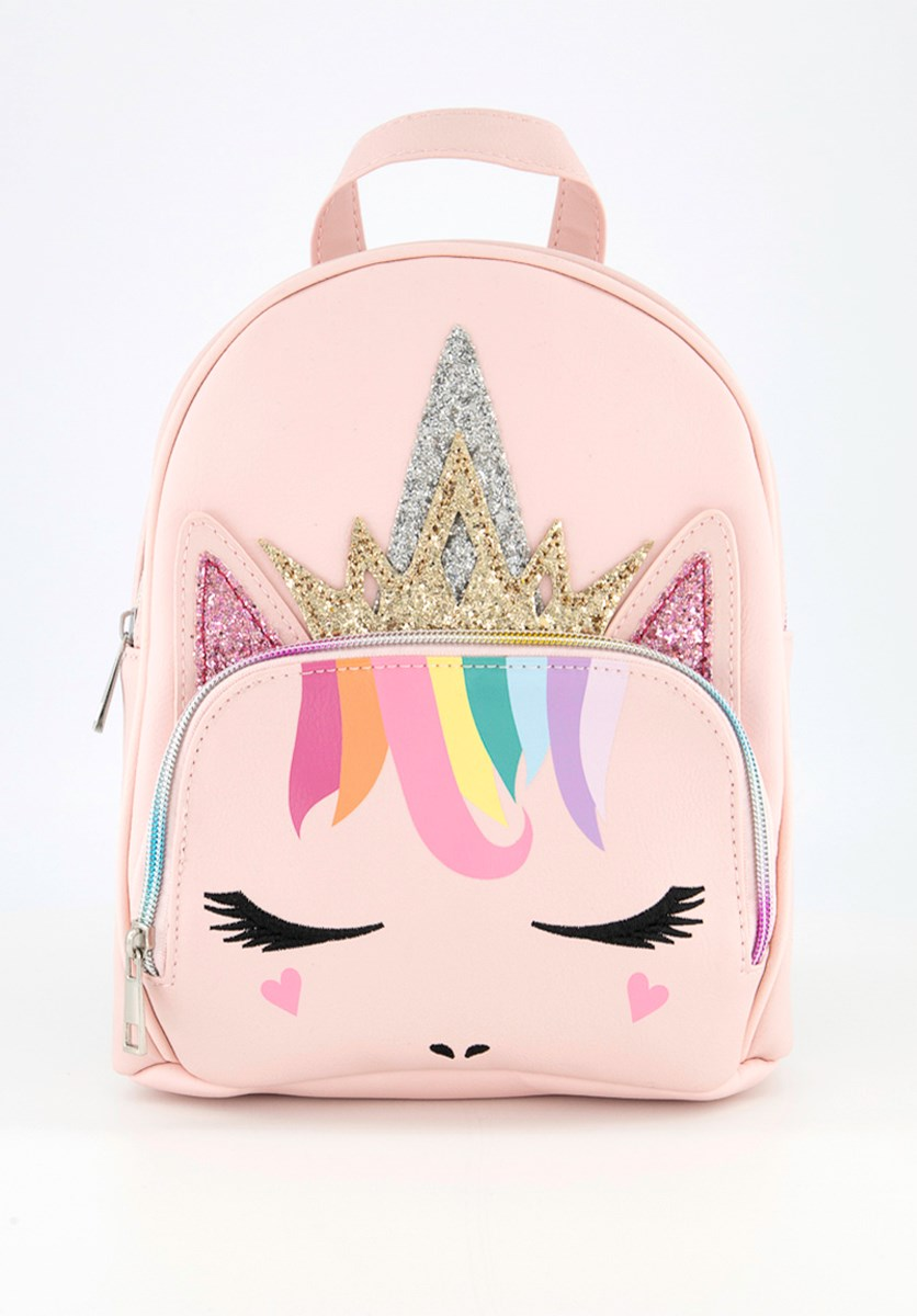 Kids Girls Princess Unicorn With Rainbow Hair Mini Backpack, Pink Combo