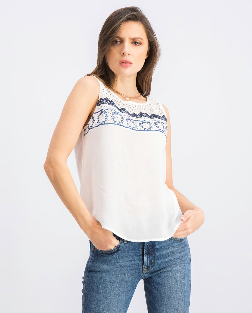 Women's Embroidered Tops, White/Navy