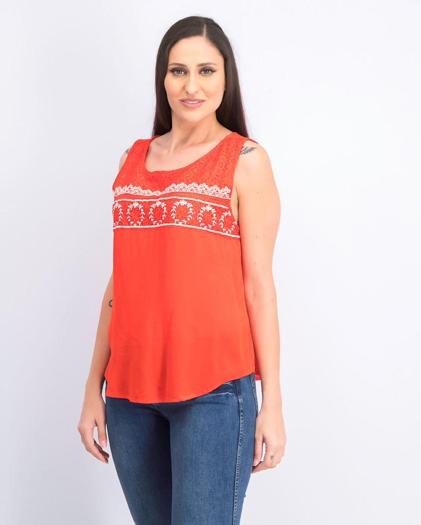 Women's Embroidery Detail Top, Coral