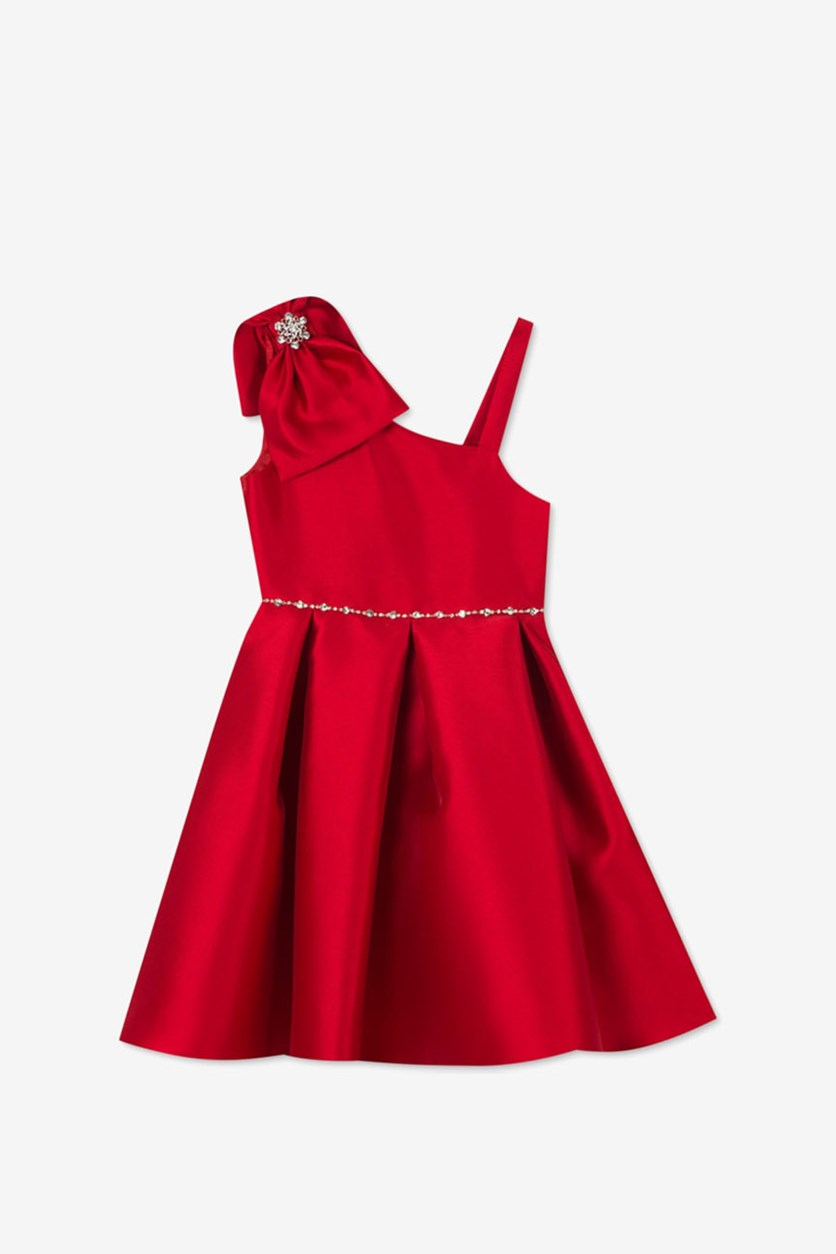 Girls Mikado Asymmetrical Bow Dress, Red